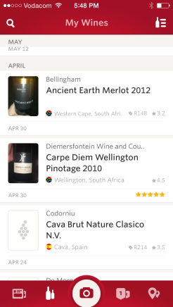 When logging in, you will see all the wines you have reviewed before